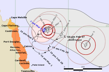 Tropical Cyclone Niran develops off the North Queensland coast